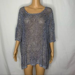 Carmen Marc Valvo Sheer Knit Dolman Sleeve Sweater